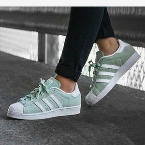 Adidas Originals Superstars Mint Suede 7.5 Women